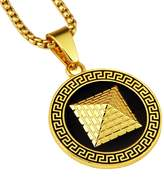 TIDOO Hip Hop Golden Pyramid Pendant Chain Necklaces