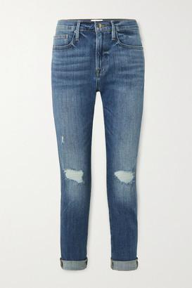 Frame Le Beau Distressed Slim Boyfriend Jeans - Mid denim