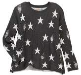 Vintage Havana Star Print Ripped Sweater (Big Girls)