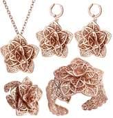 U7 Rose Gold Women Wedding Jewelry Set Vintage Floral Pendant Necklace Cuff Bracelet Earrings Rings 4 Pieces