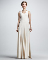 Robert Rodriguez Techno Crepe Pleated Gown