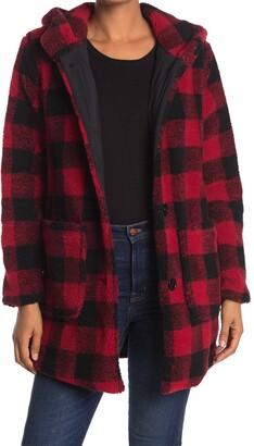 Kensie Faux Fur Teddy Plaid Duffle Jacket