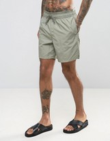 Asos Swim Shorts In Khaki With Double Waistband In Mid Length
