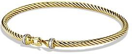 David Yurman Cable Buckle Bracelet with Diamonds in Gold