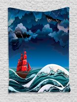 Sailboat Nautical Decor Tapestry Wall Hanging by Ambesonne, Vintage Vessel Sailing in Stormy Weather at Dark Night Majestic Wave Print, Bedroom Living Room Dorm Decor, 60WX80L Inches, Red Blue White
