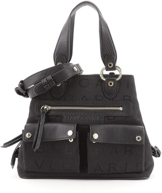 Bvlgari Double Front Pocket Convertible Tote Canvas with Leather Small