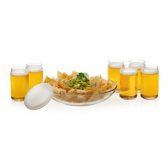 Libbey Game Night Entertaining Set with 6 Classic Can Tumblers and Chip and Dip Bowls with Plastic Lid