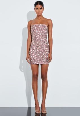 Missguided Rose Embellished Bandeau Mini Dress