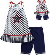 Dollie & Me Navy & White Americana Leggings Set - Girls