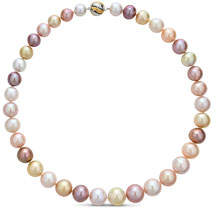 BELPEARL 14k White Gold Chic Color Combination of South Sea & Kasumiga Pearl Necklace, 10-14mm