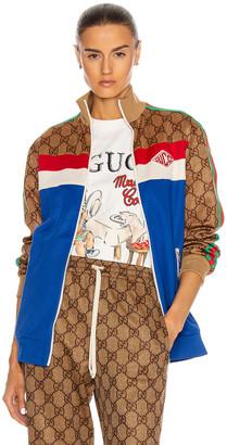 Gucci Long Sleeve Zip Jacket in Cobalt & Multicolor | FWRD
