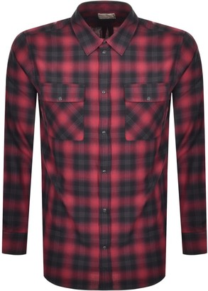 Nudie Jeans Long Sleeved Gabriel Check Shirt Red