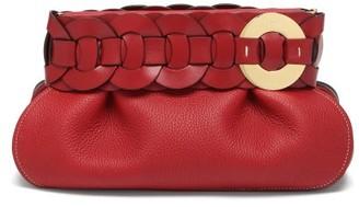 Chloé Darryl Braided Grained-leather Clutch Bag - Dark Red