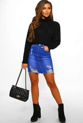 Pink Boutique By The Fire Black Chunky Cable Knit Turtle Neck Jumper