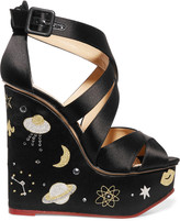 Charlotte Olympia Space Age embellished satin wedge sandals