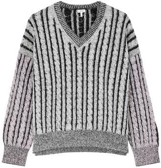 Loewe Grey cable-knit wool jumper
