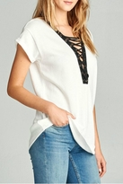 Minx White Laceup Shirt Top