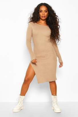 boohoo Petite Split Hem Rib Knit Jumper Midi Dress