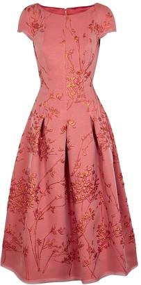 Talbot Runhof Portsmith8 pink floral-jacquard dress