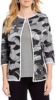 Misook Jewel Neck Contrast-Trim Jacket