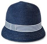 Merona Women's Cloche Hat with Striped Ribbon Sash - Navy