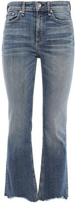 Rag & Bone Nina Frayed Faded High-rise Flared Jeans
