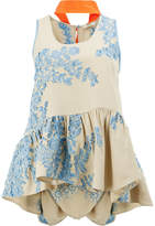 Fendi floral embroidered peplum hem blouse with neck tie