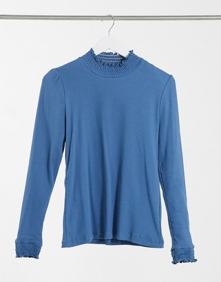 Outrageous Fortune loungewear ruched detail top in blue