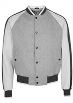 Lanvin Grey Leather And Wool Blend Bomber Jacket