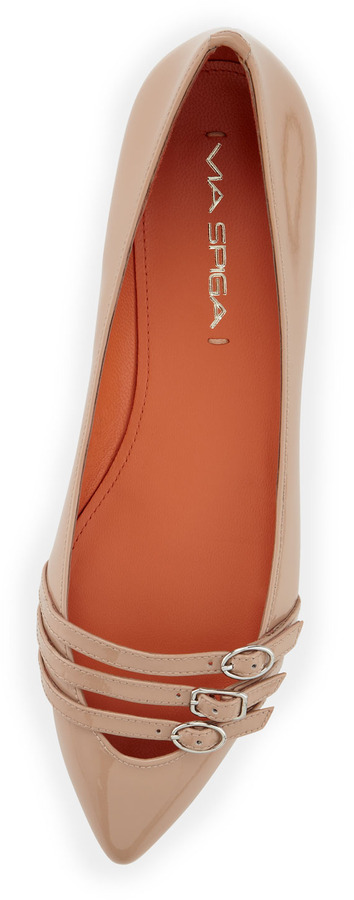 Via Spiga Dylan Patent Leather Pointed Toe Flat, Nude