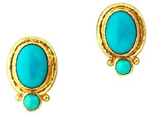 Elizabeth Locke Stone 19K Yellow Gold & Sleeping Beauty Turquoise Cabochon Medium Earrings