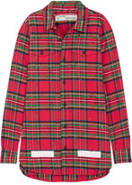 Off-White Frayed Printed Flocked Checked Cotton Shirt - Red