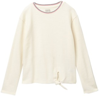 Harper Canyon Tie Front Sporty Long Sleeve Tee (Big Girls)