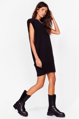 Nasty Gal Womens You'll Knit Right in Shoulder Pad Mini Dress - Black - S
