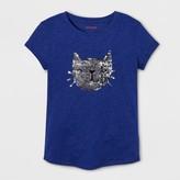 Cat & Jack Girls' Short Sleeve Cat Graphic T-Shirt - Cat & Jack Blue Dream