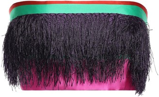 Prabal Gurung Strapless Cropped Fringe-trimmed Striped Satin Top