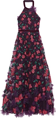 Marchesa Floral-appliqued Embroidered Tulle Halterneck Gown