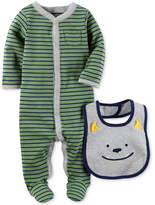 Carter's 2-Pc. Cotton Striped Footed Coverall & Bib Set, Baby Boys