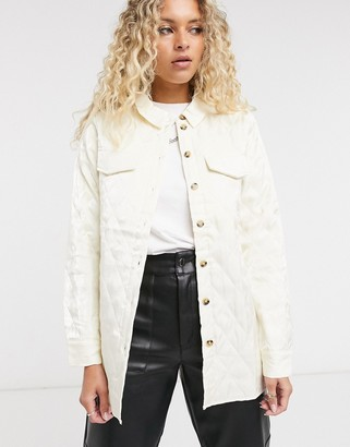 Vila quilted oversized overshirt in white