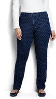 Lands' End Women's Plus Size Mid Rise Slim Jeans-Medium Indigo Dot