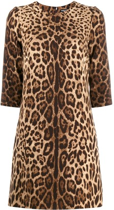 Dolce & Gabbana Leopard Print Mini Shift Dress