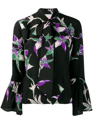 La DoubleJ La Double J V Neck Floral Print Shirt with Neck Tie and Ruffle Sleeve
