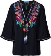 Matthew Williamson Black Jungle Embroidered Silk Top
