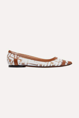 Fendi Colibri Leather-trimmed Logo-print Pvc Point-toe Flats - Tan