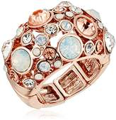 "GUESS Basic"" Rose Gold Domed Multi-Stone Adjustable Ring, Size 7-9"