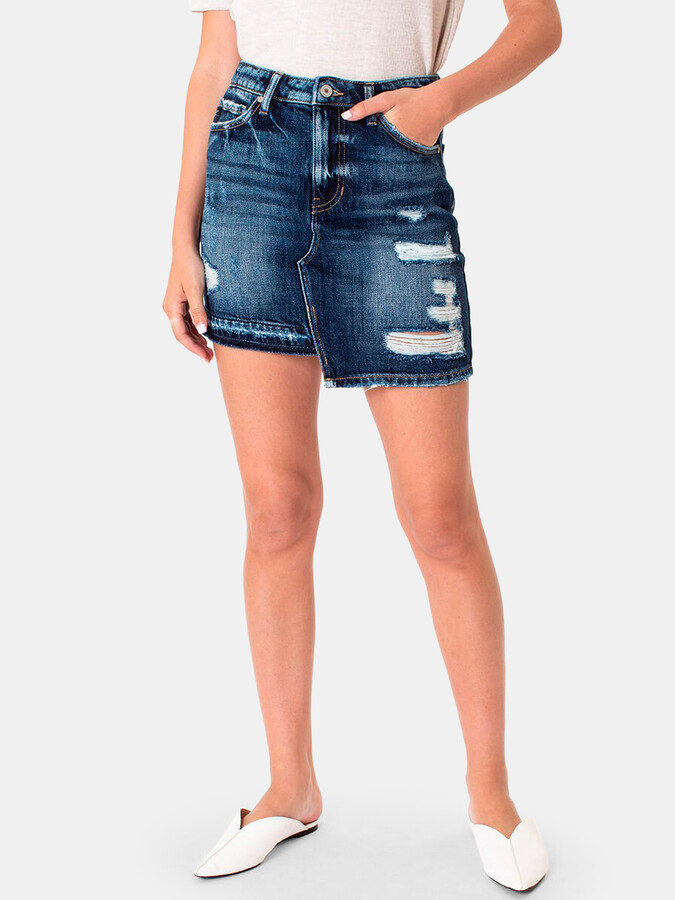 Thumbnail for your product : Kancan Julie High Rise Distressed Denim Skirt