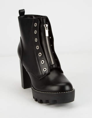 Bamboo Lug Sole Zip Grommet Womens Boot