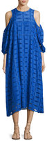 Tibi Luca Eyelet-Cutout Dress, Blue