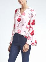 Banana Republic Easy Care Floral Flare-Sleeve Top