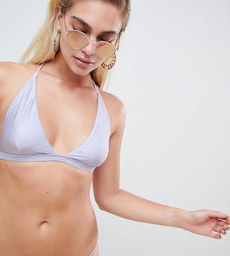 And Co Exclusive metallic plunge bikini top in lavender-Blue